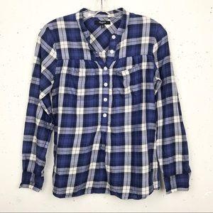 Madewell Smocked Popover Plaid Boyshirt Size XS